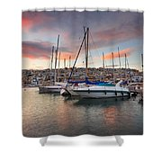 yachts in Mikrolimano marina  Shower Curtain