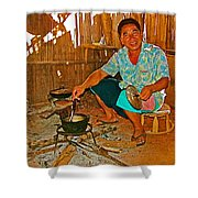 Yao Mien Tribe Man In His Home With His Cooking Pot North Of Chiang Rai In Mae Salong-thailand  Shower Curtain