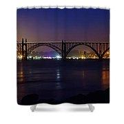 Yaquina Bay Bridge At Night Shower Curtain
