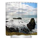Yaquina Bay Coastline Shower Curtain