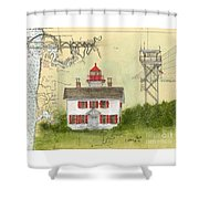 Yaquina Bay Lighthouse Or Nautical Chart Map Art Shower Curtain