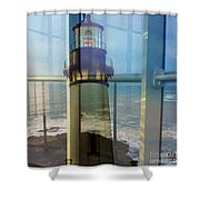 Yaquina Head Lighthouse Mirage  Shower Curtain