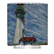 Yaquina Head Lighthouse Original Painting Shower Curtain