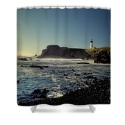 Yaquina Lighthouse And Beach No 2 Shower Curtain