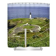 Yaquina Lighthouse From Salal Hill Trail  Shower Curtain