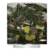 Yarrow And Lotus Wreath Squared Shower Curtain
