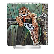 Yawning Leopard Shower Curtain