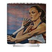 Yelena Isinbayeva   Shower Curtain by Paul Meijering