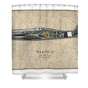 Yellow 10 Focke-wulf Fw190d - Map Background Shower Curtain