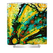 Yellow Abstract Shower Curtain by Sharon Cummings