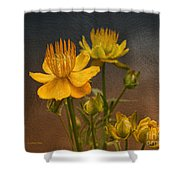 Yellow Aged Floral Shower Curtain