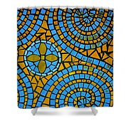 Yellow And Blue Mosaic Shower Curtain