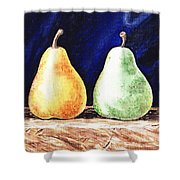 Yellow And Green Pear Shower Curtain