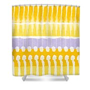 Yellow And Grey Tie Dye Shower Curtain