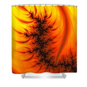 Yellow And Orange Fractal Fire Shower Curtain