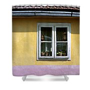 Yellow And Pink Facade. Belgrade. Serbia Shower Curtain