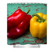 Yellow And Red Bell Pepper Shower Curtain