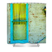 Art Deco Lamp And Yellow And Turquoise Window Shower Curtain