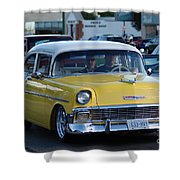 Yellow And White Classic Chevy Shower Curtain