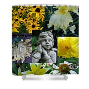 Yellow And White Flower Collage Shower Curtain