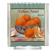 Yellow Aster Brand Oranges Vertical Shower Curtain