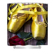 Yellow Ballet Shoes Shower Curtain by Garry Gay