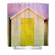 Yellow Beach Hut Shower Curtain