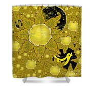 Yellow Bird Sings In The Sunflowers Shower Curtain