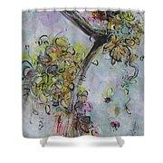 Yellow Blossoms Painting Flowr Butterflies Art Abstract Modern Spring Color Flower Art Shower Curtain