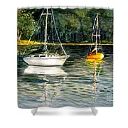 Yellow Boat Sister Bay Shower Curtain
