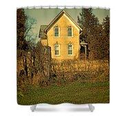 Yellow Brick Farmhouse Shower Curtain