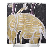 Yellow Brown Elephant In The Bush. Shower Curtain