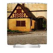Yellow Building And Wall In Rothenburg Germany Shower Curtain