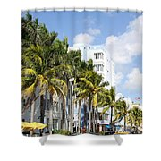 Yellow Cabs On Ocean Drive Shower Curtain