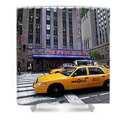 Yellow Cabs Pass In Front Of Radio City Music Hall Shower Curtain