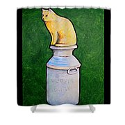 Yellow Cat On Milk Can Shower Curtain