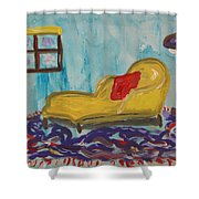 Yellow Chaise-red Pillow Shower Curtain