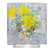 Yellow Dahlias And Peruvian Lilies Shower Curtain