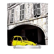 Yellow Deux Chevaux In Shadow Shower Curtain