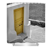 Yellow Door Of Oia Shower Curtain