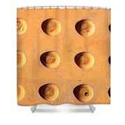 Yellow Dots Metal Shower Curtain