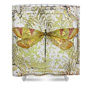 Yellow Dragonfly On Vintage Tin Shower Curtain