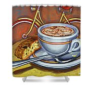 Yellow Dutch Bicycle With Cappuccino And Biscotti Shower Curtain