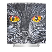 Yellow Eyed Black Cat Shower Curtain