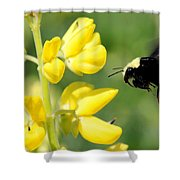 Yellow Faced Shower Curtain