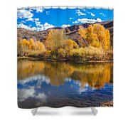 Yellow Fall Reflections Shower Curtain