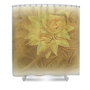 Yellow Fascinator With Feathers Shower Curtain