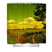Yellow Fencerow Shower Curtain
