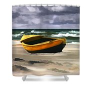 Yellow Fishing Dory Before The Storm Shower Curtain