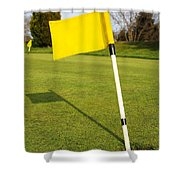Yellow Flag On The Green Shower Curtain